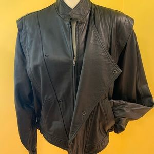 Micheal Hoban North Beach black Leather jacket 42